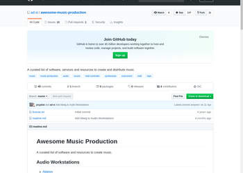Screenshot von https://github.com/ad-si/awesome-music-production